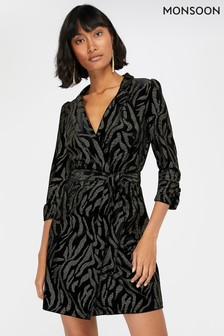 Monsoon Black Nadia Nailhead Velvet Blazer Dress