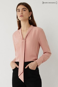 Warehouse Pink Tie Neck Blouse