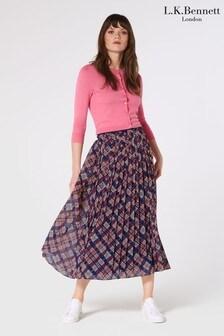 L.K.Bennett Blue Avery 1940s Floral Print Midi Skirt