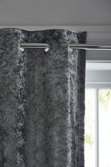 Crushed Velvet Fringed Eyelet Curtains