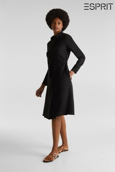 Esprit Black Shirt Dress With Long Sleeves And Belt
