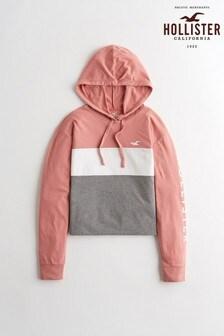 Hollister Pink Colourblock Logo Hoody