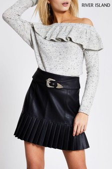 River Island Black Belted Pleated Peplum Skirt