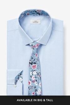 Trim Detail Shirt And Printed Tie Set