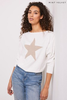 Mint Velvet White Star Front Stitch Jumper