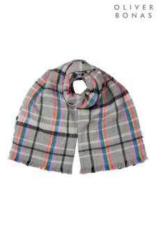 Oliver Bonas Rainbow Stripe Soft Check Grey Knitted Scarf