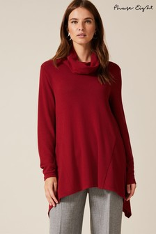 Phase Eight Red Shari Snuggle Roll Neck Top