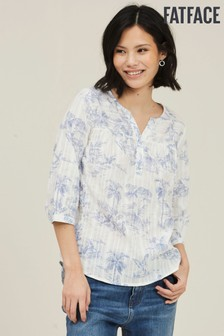 FatFace Natural Elodie Flamingo Popover Blouse