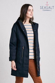 Seasalt Blue Polperro 3 Season Coat