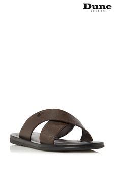 Dune London Frankss Brown Leather Comfort Cross Strap Sandals