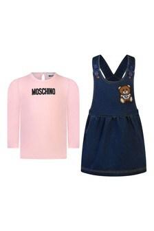 Baby Girls Pink T-Shirt & Denim Fleece Dress Set