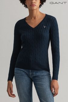 GANT Blue Stretch Cotton Cable V-Neck Jumper