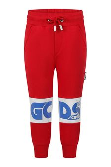 Kids Red Cotton Logo Joggers