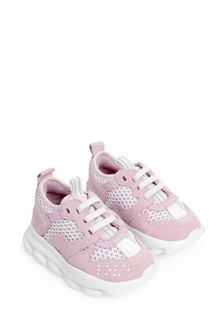 Girls Pink Suede & Mesh Trainers
