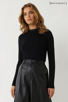 Warehouse Black Frill Collar Woven Jumper