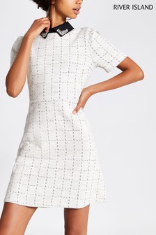 River Island Cream Ronnie Collar Tea Dress