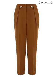 Warehouse Tan Front Pleat Peg Trousers