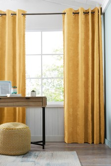 Soft Velour Pom Edge Eyelet Lined Curtains