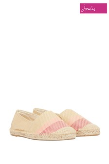 Joules Pink Shelbury Espadrilles with Embroided Details