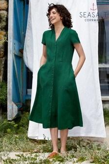 Seasalt Petite Green Carved Wood Dress