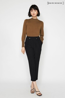 Warehouse Black Front Pleat Peg Trousers