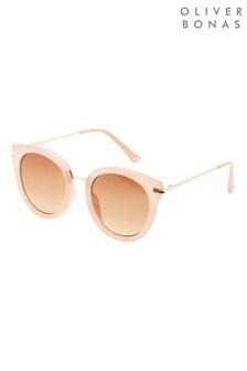 Oliver Bonas Pink Peach Round Kitten Sunglasses