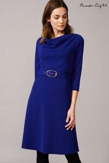 Phase Eight Blue Annette Cowl Neck Swing Dress