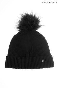 Mint Velvet Knitted Black Pom Pom Hat