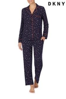 DKNY Blue Long Sleeve Notch Collar Pyjama Set