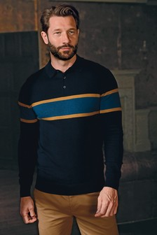 Block Striped Knitted Polo