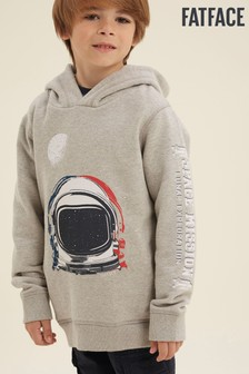 FatFace Grey Space Graphic Popover Sweater