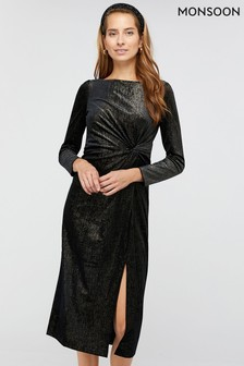Monsoon Black Robyn Foil Print Velvet Midi Dress