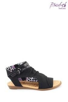 Blowfish Black Blumoon Micro-Wedge Heel Sandals