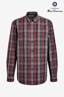 Ben Sherman Red Long Sleeve Blocked Fine Shirt