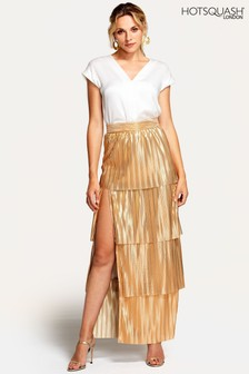 HotSquash Gold Tiered Maxi Skirt