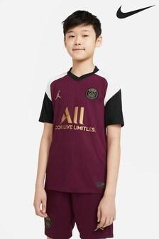 Nike Burgundy PSG Third 20/21 Kids Football Shirt