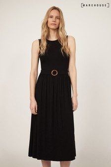 Warehouse Black Belted O Ring Midi Dress