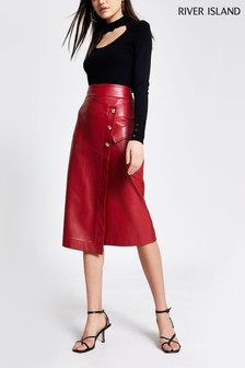River Island Red Dark Utility Midi Skirt