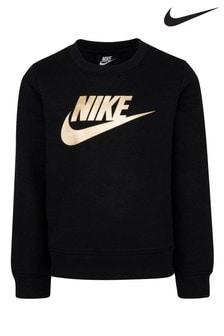 Nike Little Kids Black Metallic Futura Crew Sweater