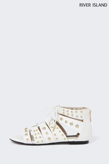 River Island Cream Stud Tie Up Gladiator Sandals