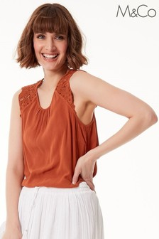 M&Co Brown Crinkle Crochet Top