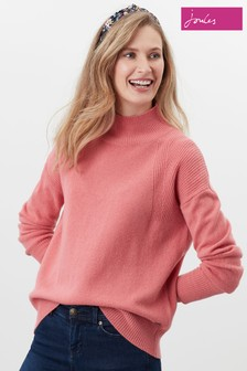 Joules Pink Halton Knitted Turtle Neck Jumper