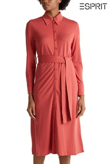 Esprit Orange Long Belted Shirt Dress