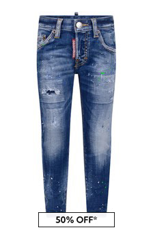 Boys Blue Cotton Denim Skater Jeans