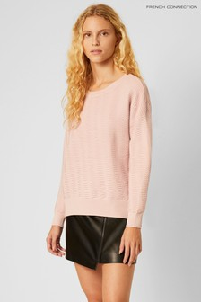 French Connection Pink Mozart Knit Slash Neck Cropped Jumper