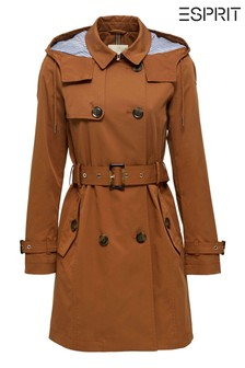 Esprit Camel Classic Hooded Trench Coat