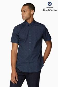 Ben Sherman Navy Short Sleeve Scattered Spot Shirt