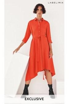 Mix/Marques'Almeida Red Satin Shirt Dress
