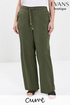 Evans Curve Khaki Linen Blend Regular Trousers