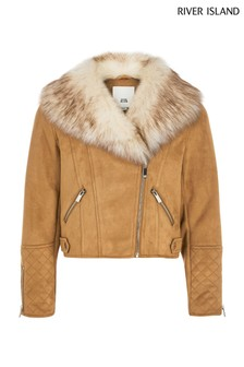 River Island Brown Suedette Jacket
